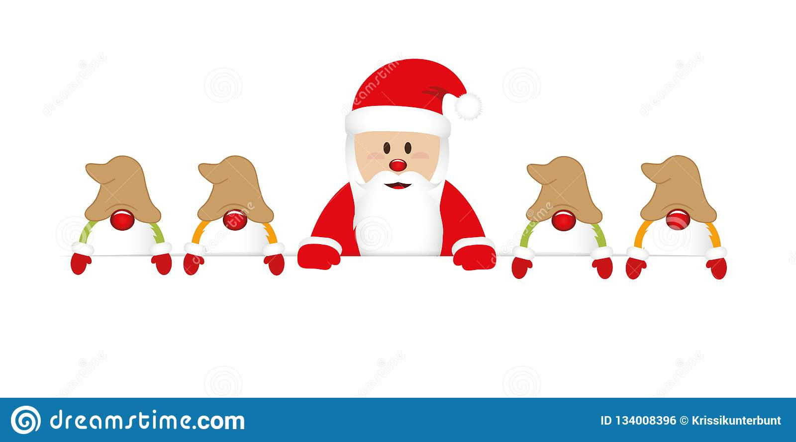 De leuke gelukkige Kerstman met zijn gnomen witte banner