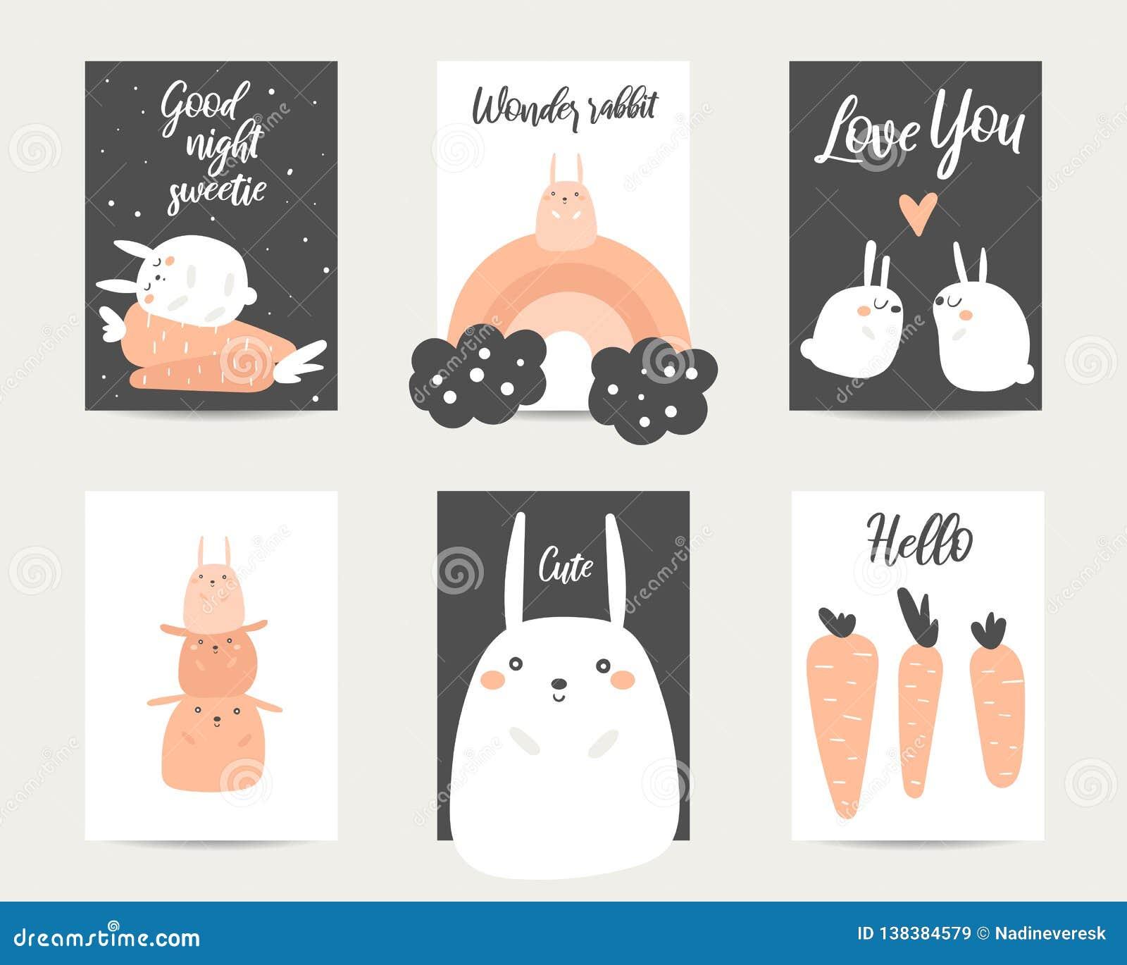 De leuke getrokken hand anime stileert babydouche, Pasen-kaarten, brochures, uitnodigingen met konijn