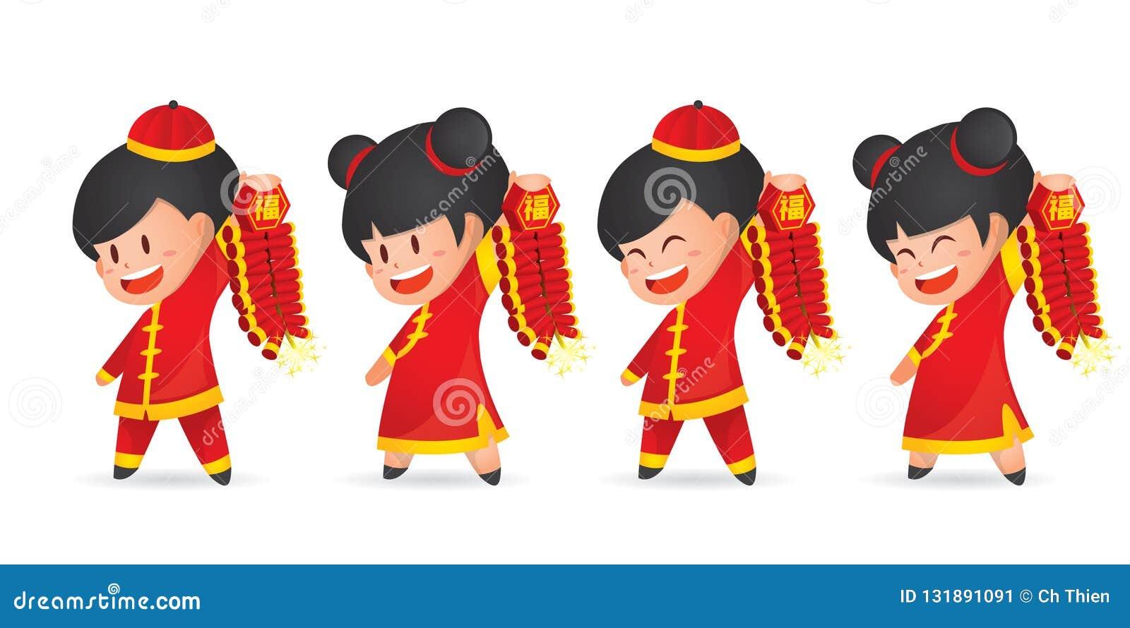 De leuke jongen en het meisje die van het beeldverhaal Chinese Nieuwjaar pret met voetzoeker hebben die, op wit wordt geïsoleerd