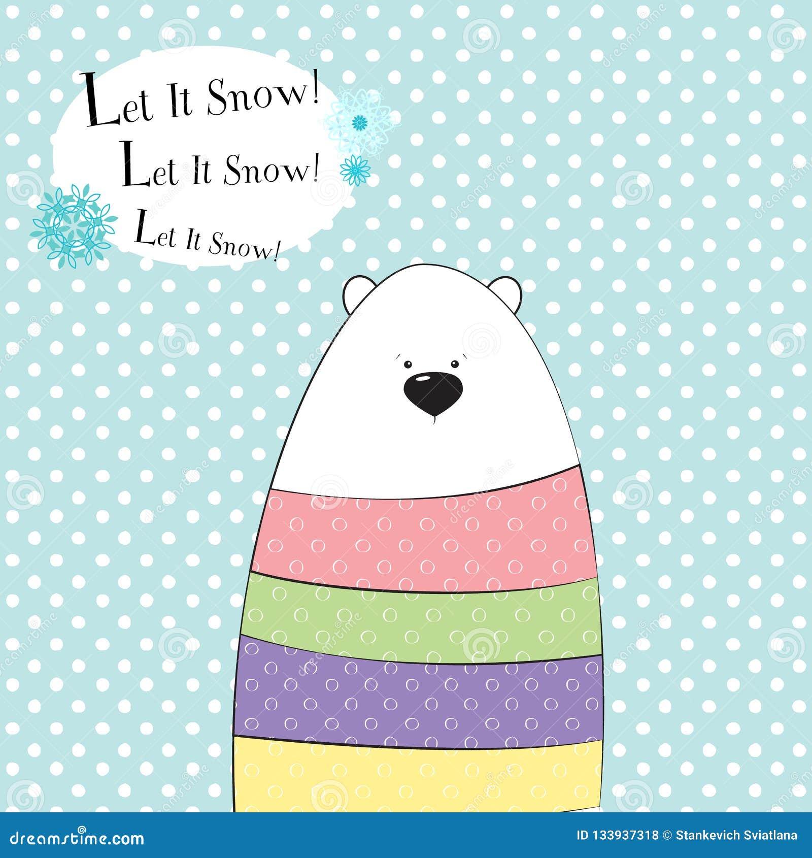 De leuke kaart van de Kerstmisgroet Grappige ijsbeer in een sweater met stippen op de achtergrond met sneeuwvlokken Vector