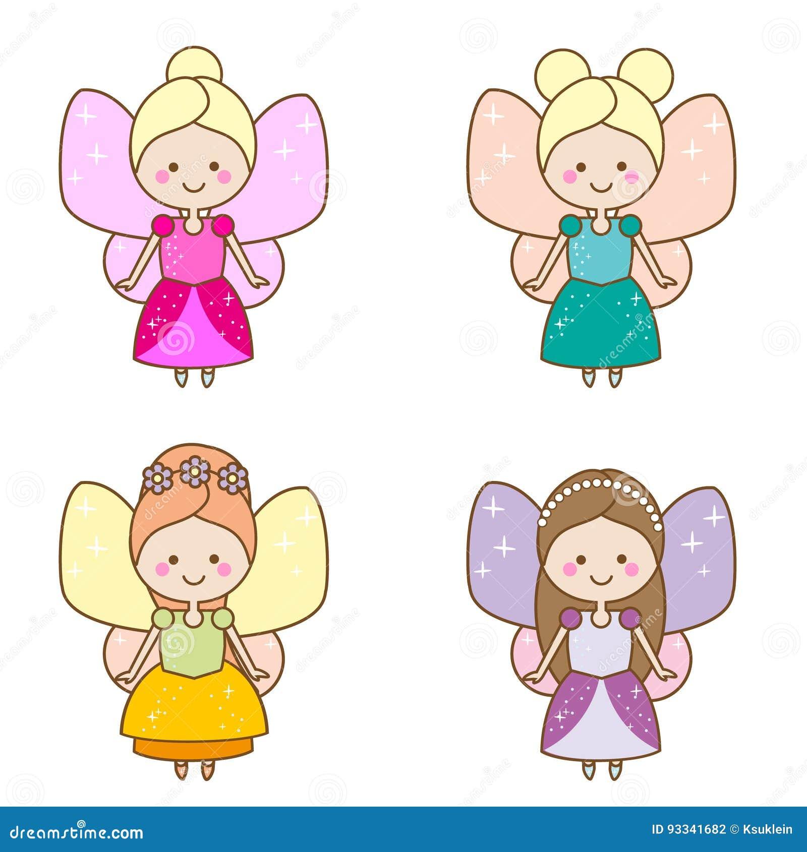 De leuke karakters van kawaiifeeën Gevleugelde elfprinses in mooie kleding Beeldverhaalstijl, de stickers van meisjesjonge geitje