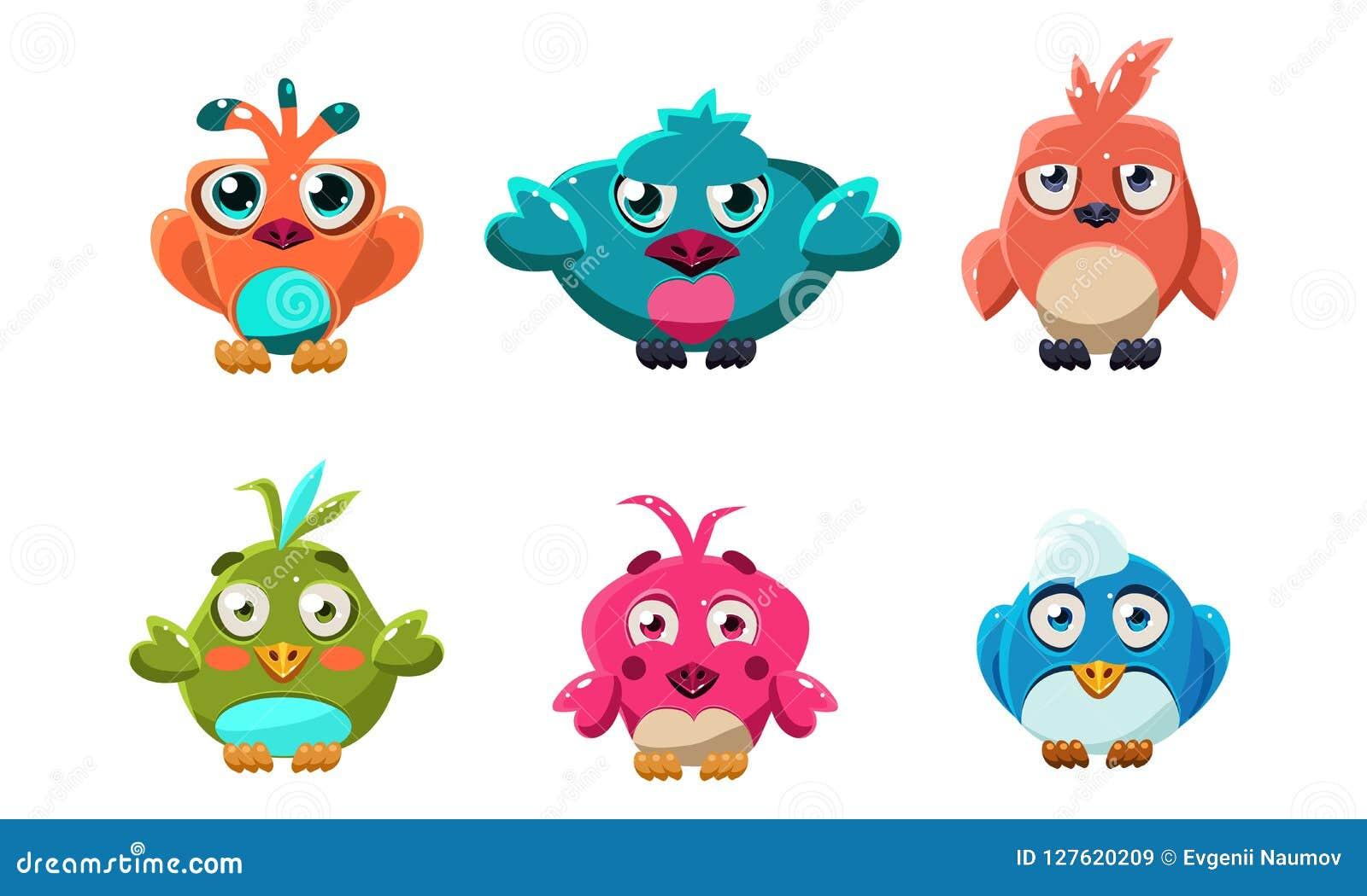 De leuke kleine vogels plaatsen, grappige kleurrijke beeldverhaal glanzende vogel, gebruikersinterfaceactiva voor mobiele apps of