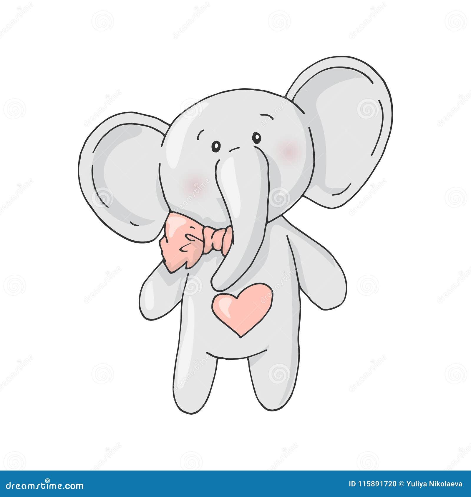 De leuke olifant van het beeldverhaal mooie meisje