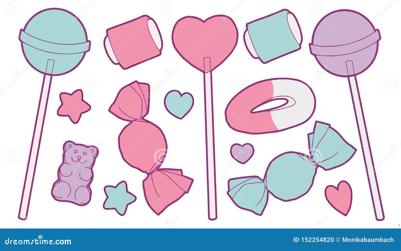 De leuke pastelkleur kleurde beeldverhaal vectorinzameling die met verschillende snoepjes zoals suikergoed, fruitgom, lollys, har