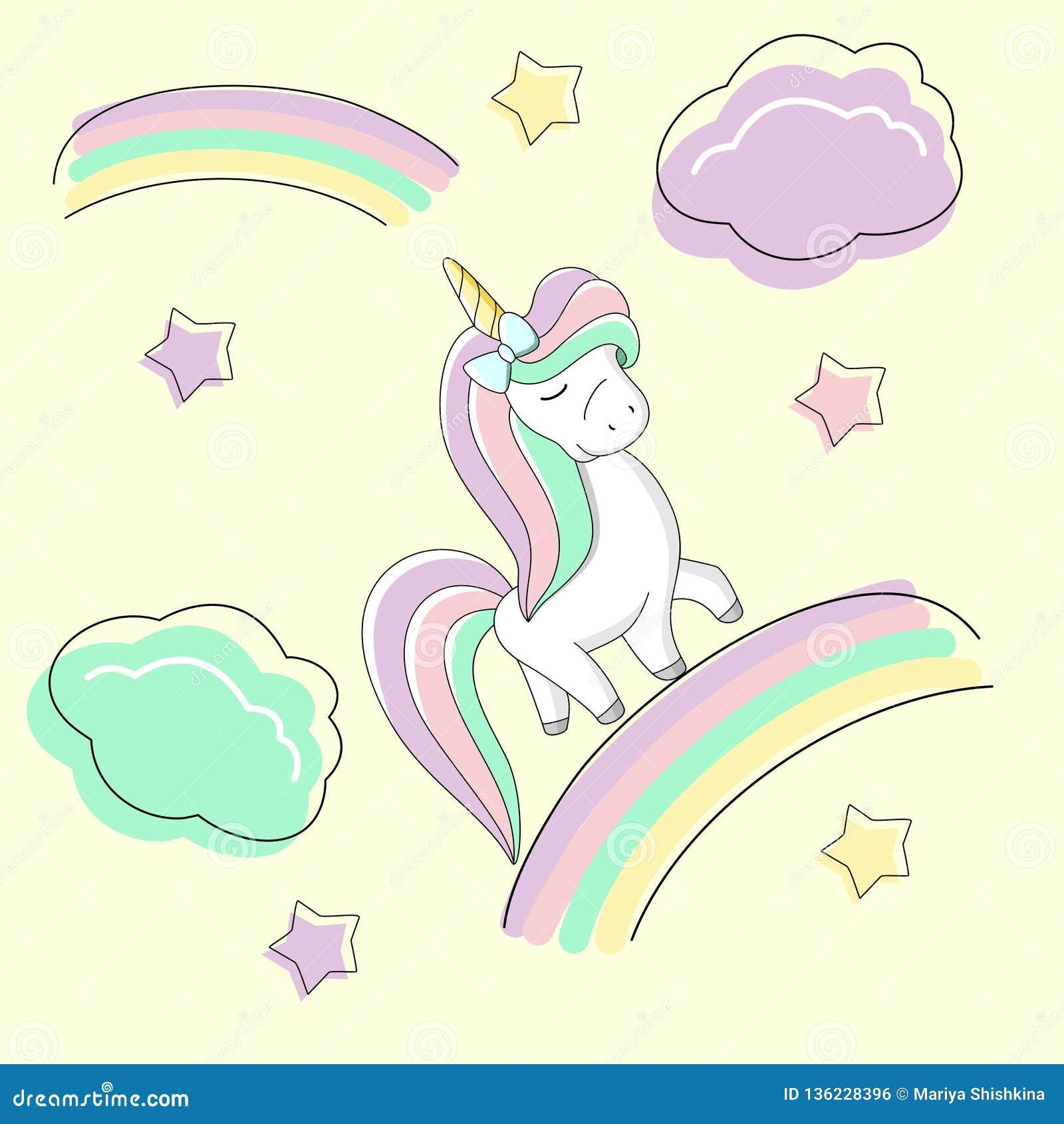 De leuke regenboogeenhoorn met een boog is op de regenboog