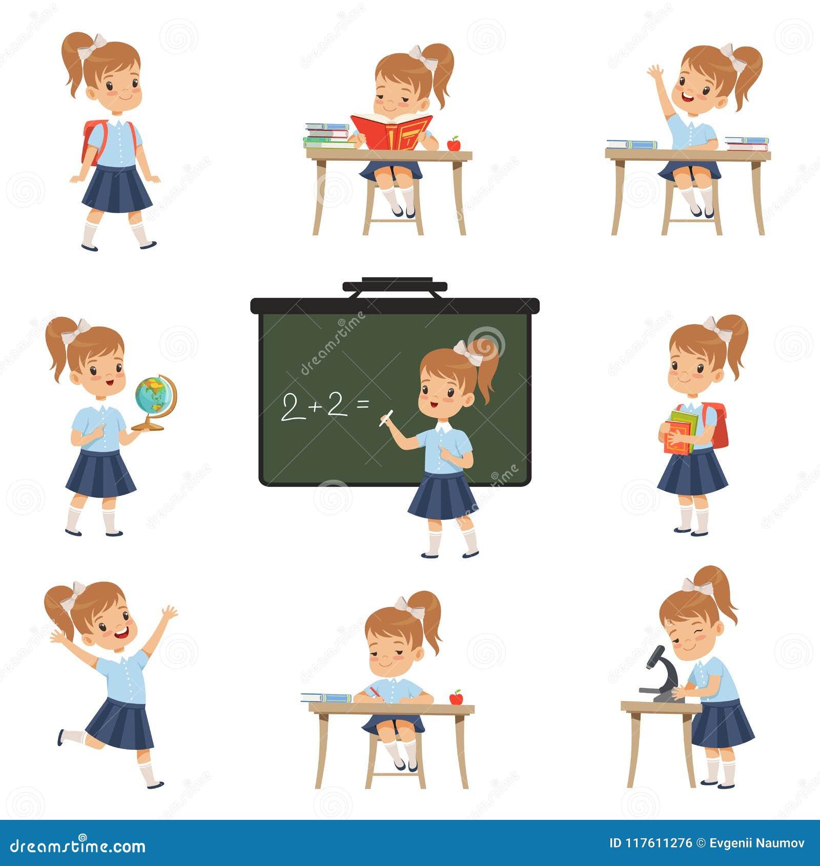De leuke schoolmeisjestudent in eenvormig in diverse activiteiten plaatste, meisje bij lessen van biologie, aardrijkskunde, wisku