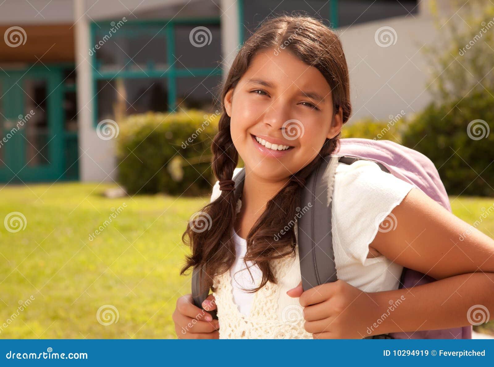 De leuke Spaanse Studente van de Tiener Klaar voor School