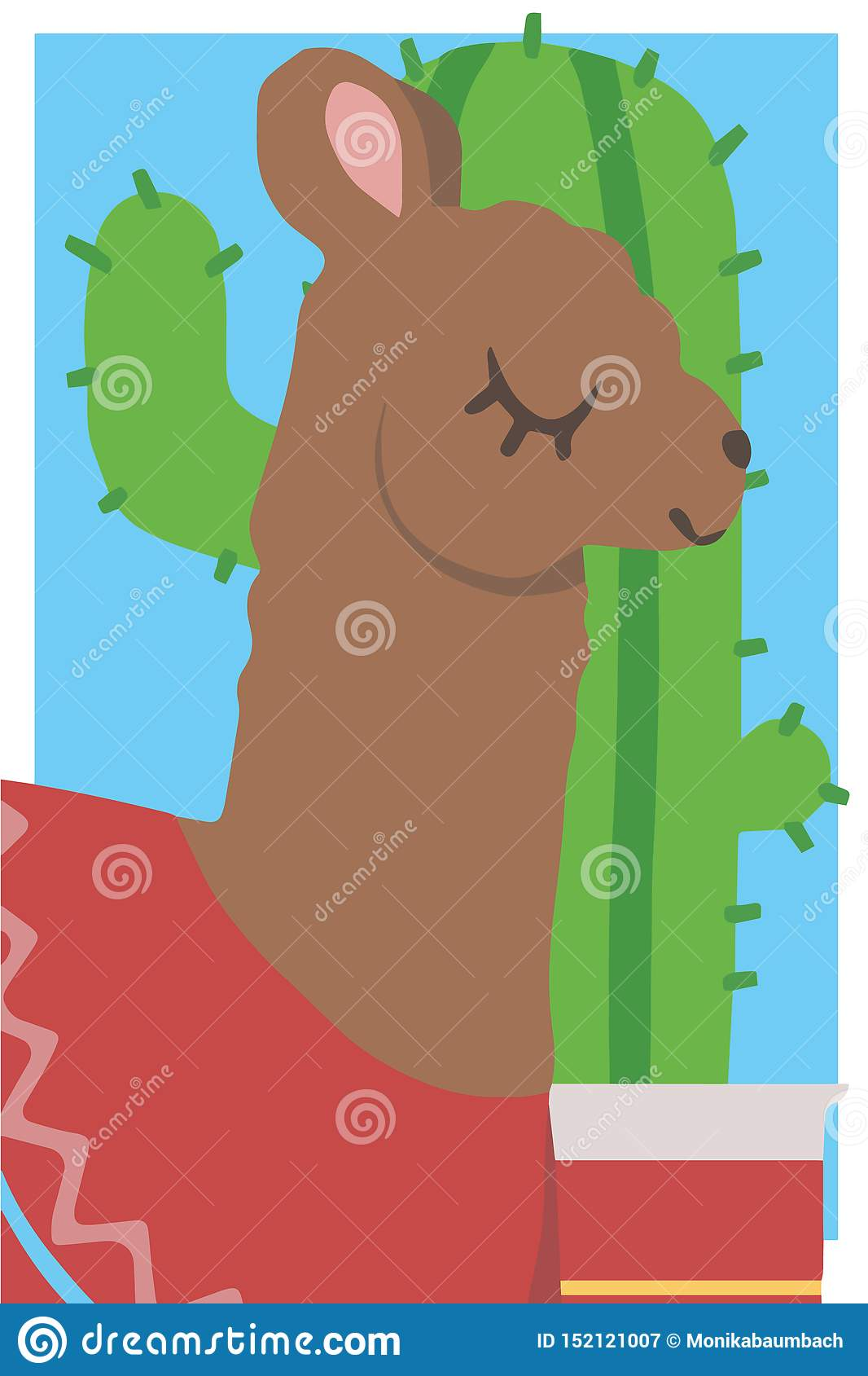 De leuke tekening van de de vectorafbeeldingenillustratie van de beeldverhaalstijl eenvoudige dierlijke van een bruine lama met r