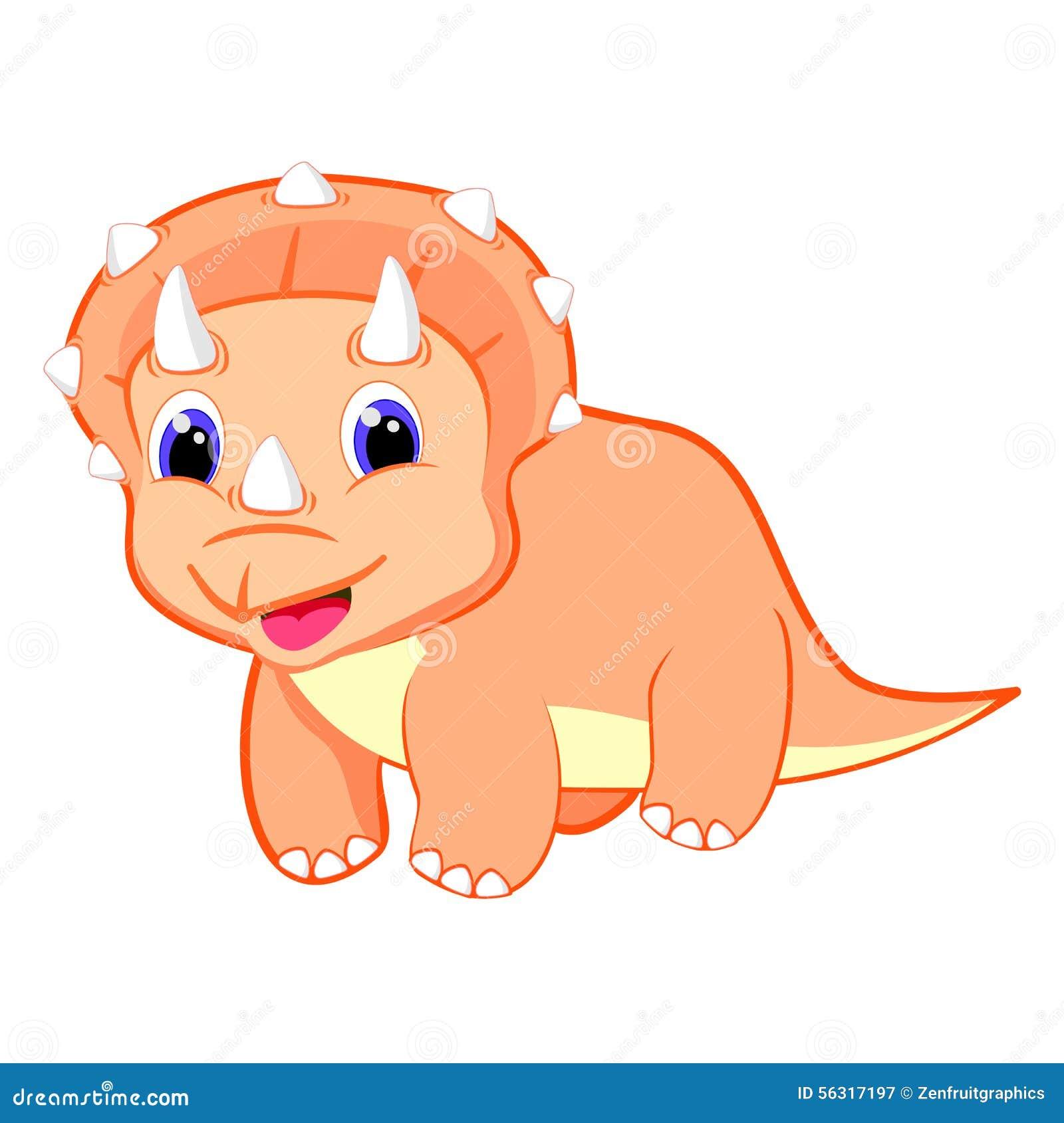 De leuke vectorillustratie van de baby triceratops dinosaurus