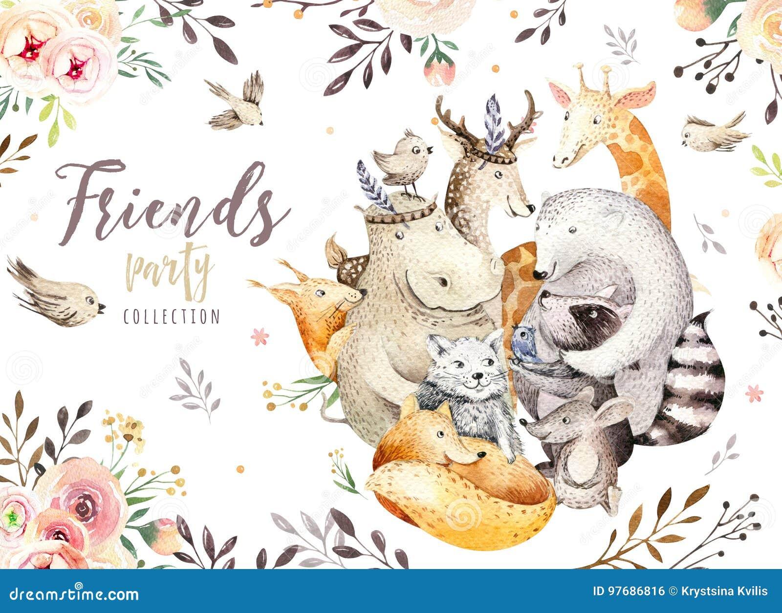 De leuke vos van de familiebaby, kat van het herten de dierlijke kinderdagverblijf, giraf, eekhoorn, en draagt geïsoleerde illust