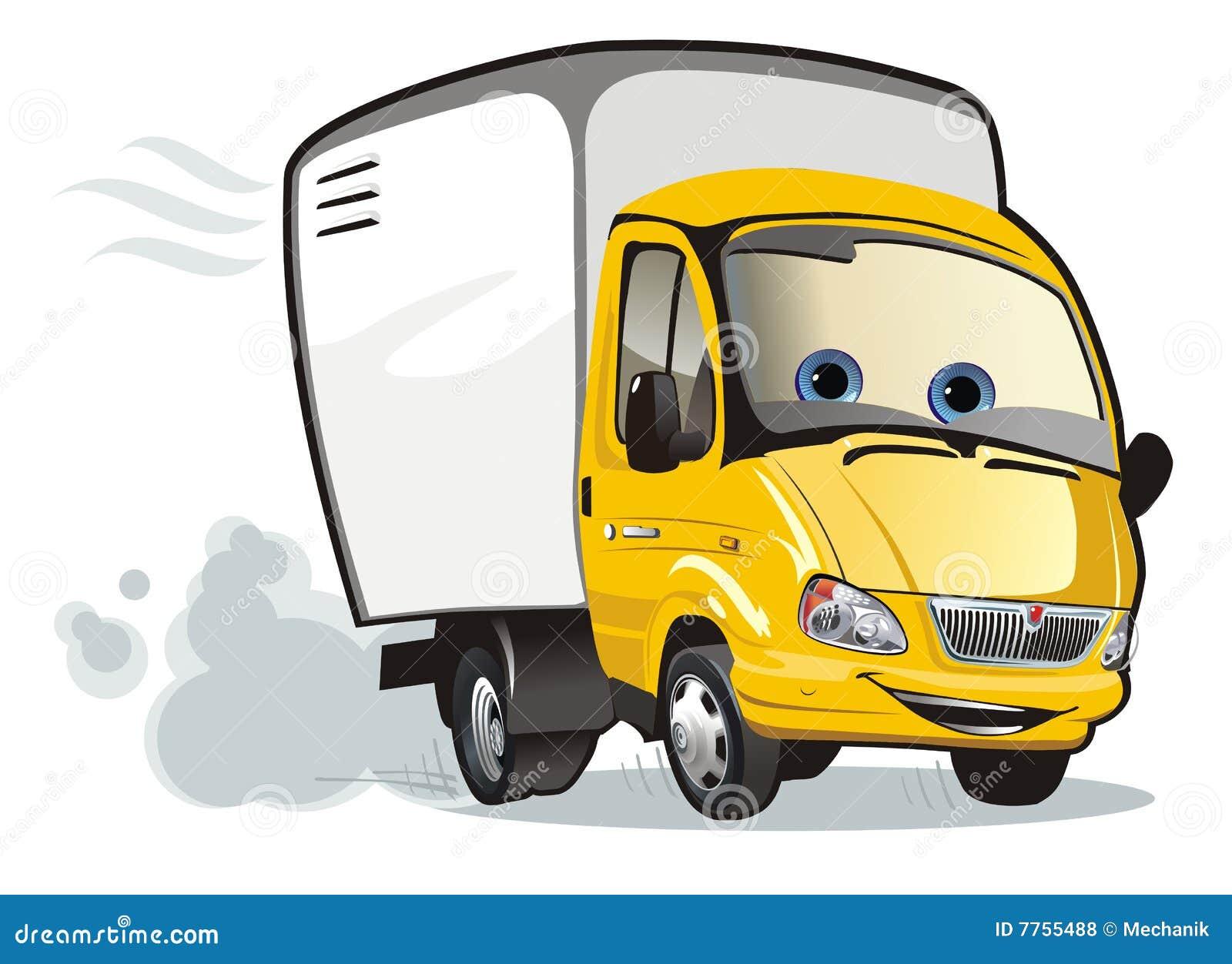 De levering van het beeldverhaal/ladingsvrachtwagen