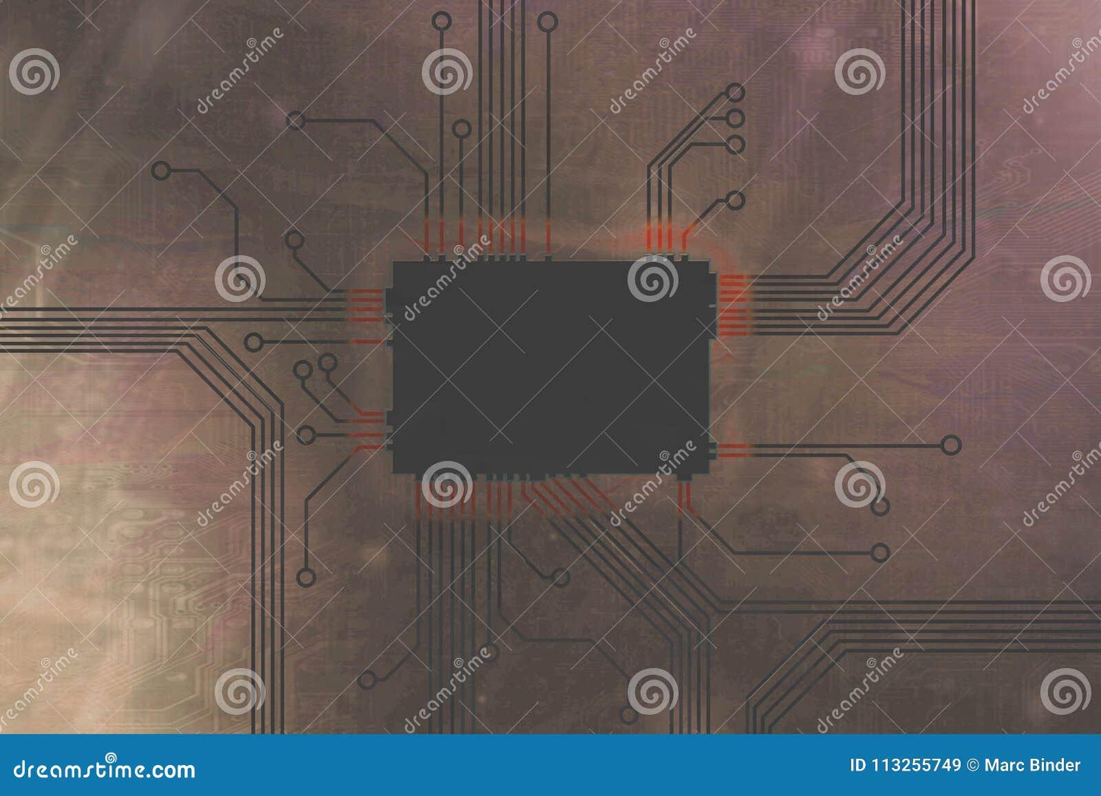 De lichtbruine Gekleurde kern van de digitale computerspaander