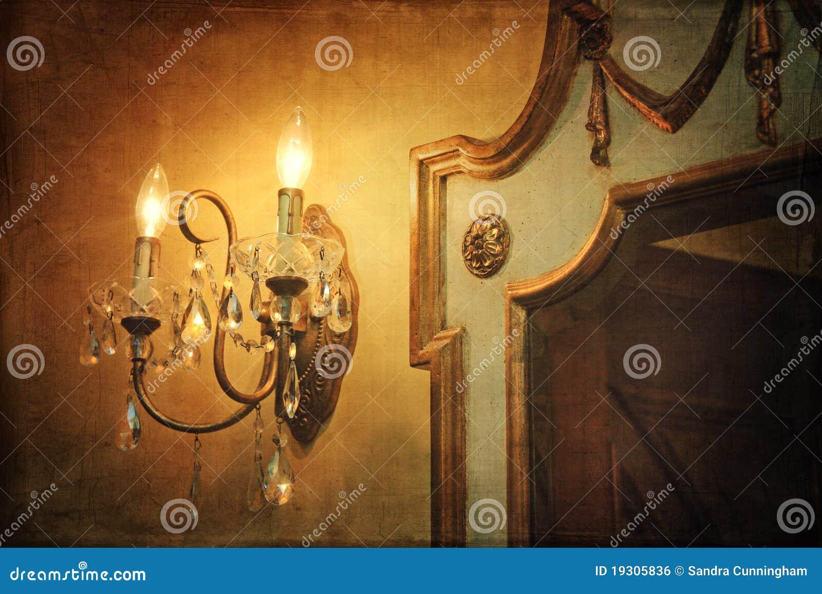De lichte blaker van de muur met spiegel