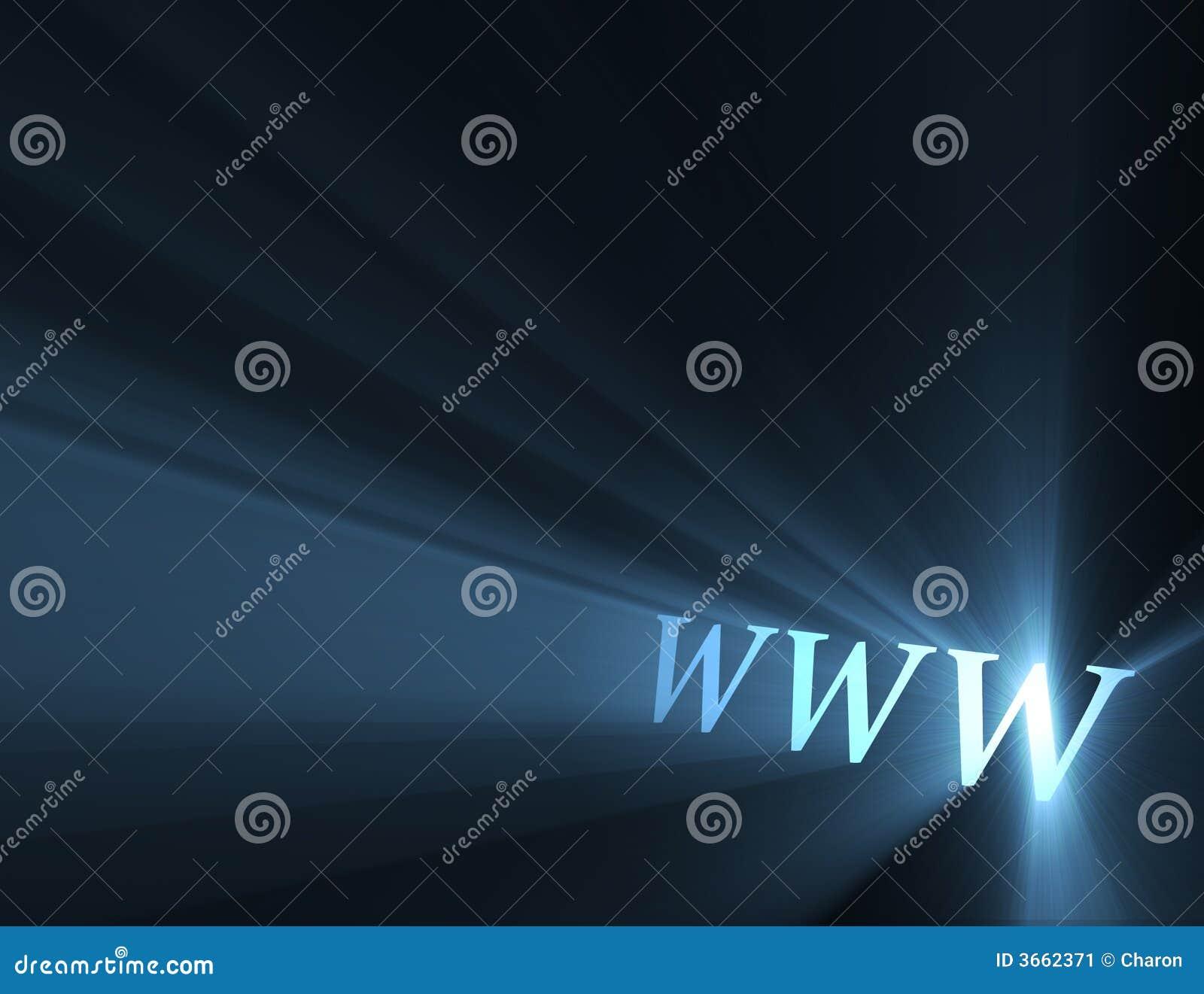 De lichte gloed van World Wide Web www