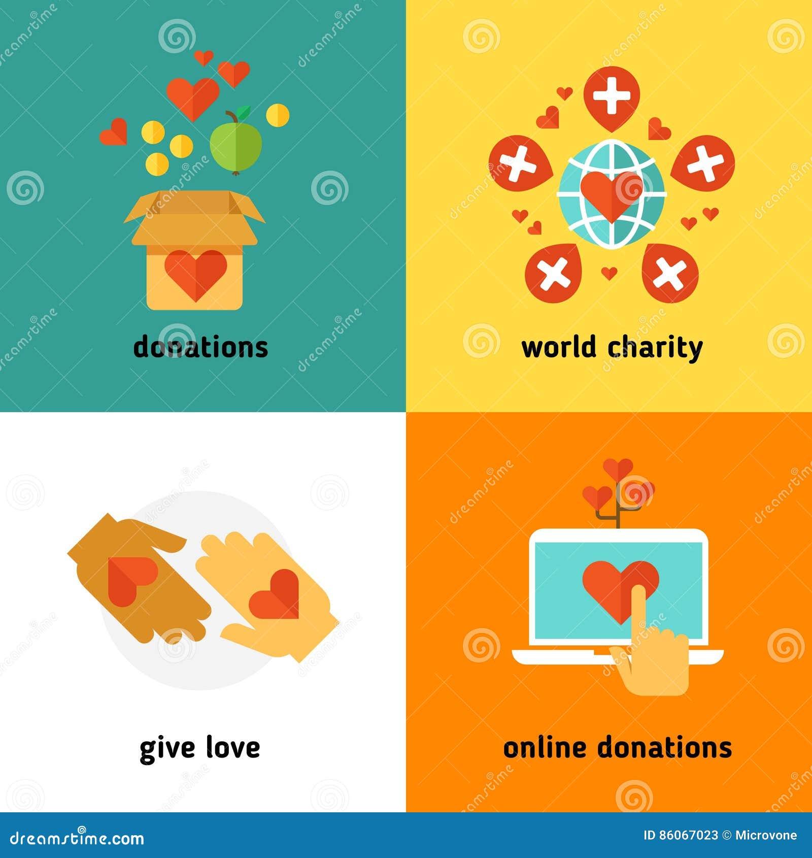 De liefdadigheid en de schenking, de sociale hulpdiensten, het vrijwilligerswerk, profiteren organisatie niet vlakke vectorconcep