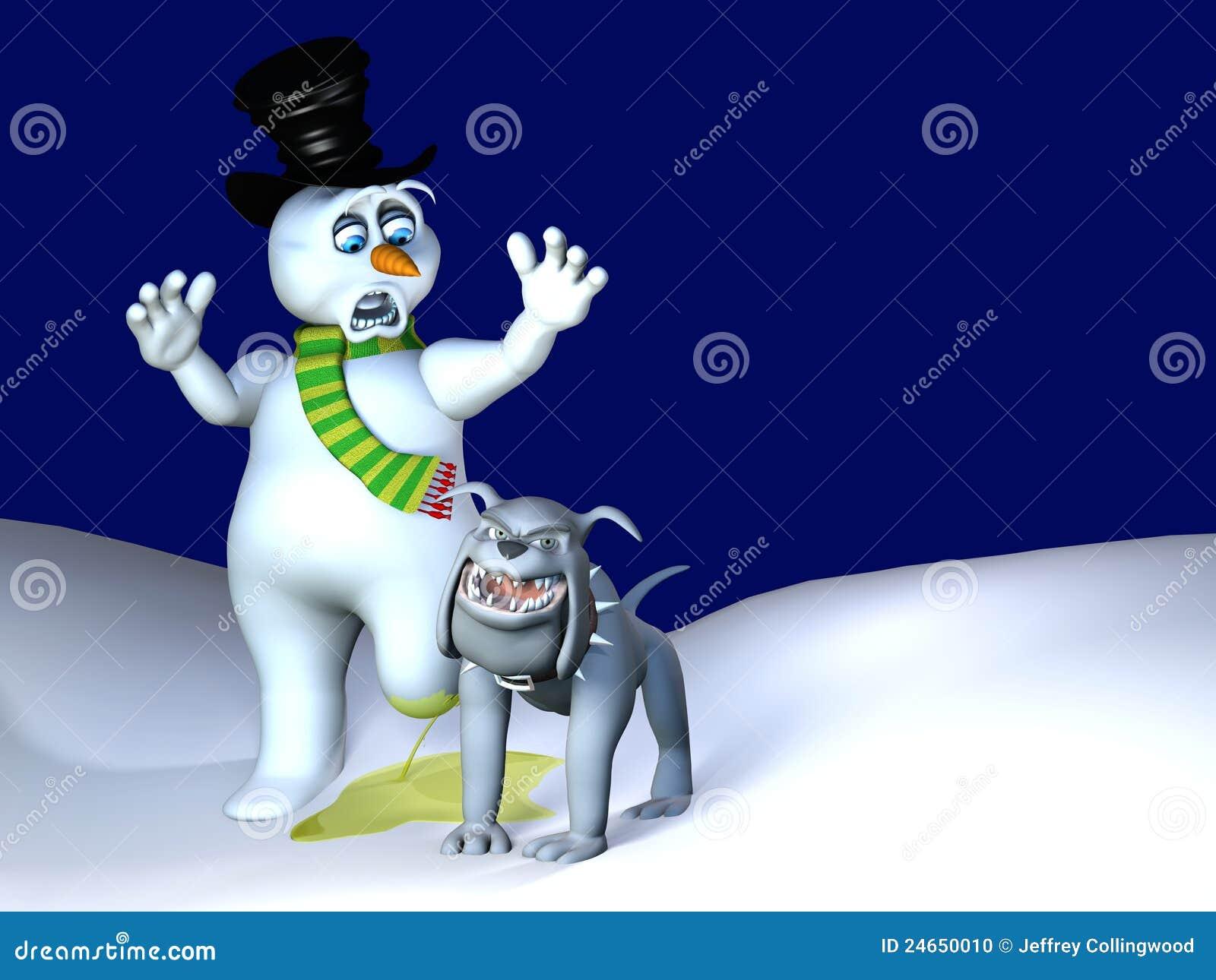 De Lift van het Been van de hond - de Smelting van de Sneeuwman