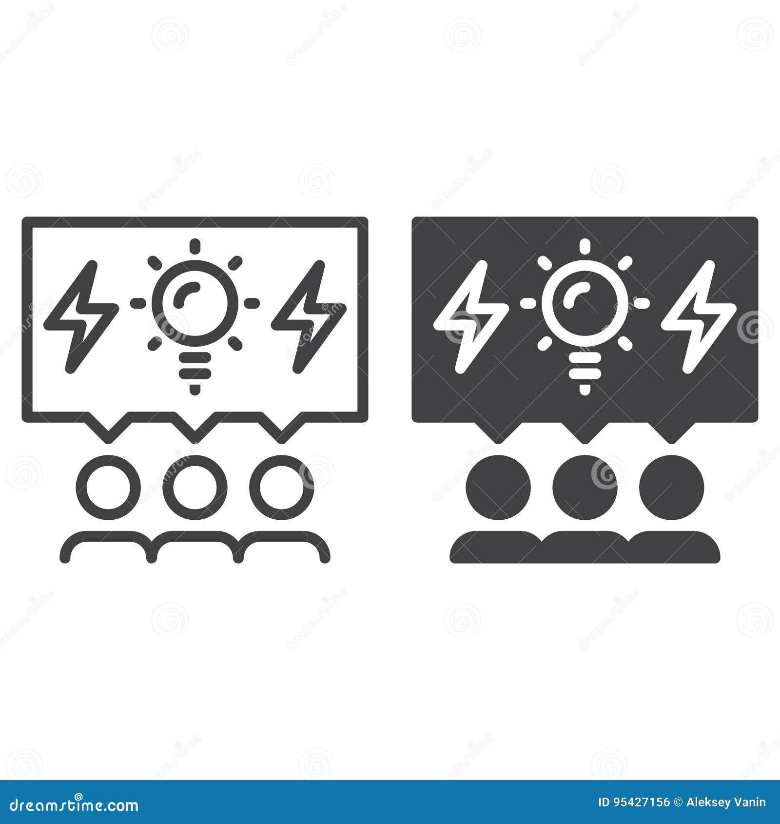 De lijn van brainstormingsmensen en stevig pictogram, overzicht en gevuld vectorteken, lineair en volledig die pictogram op wit w