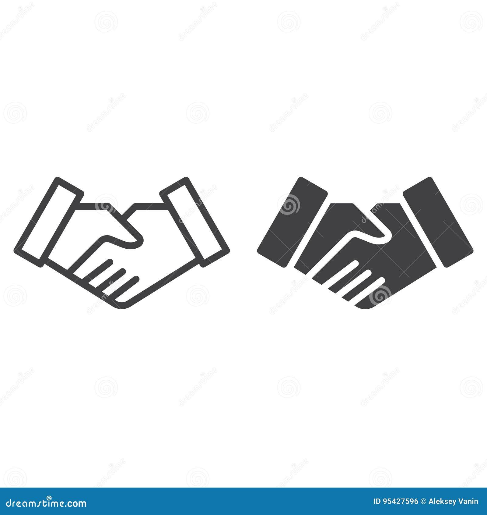 De lijn van de handdrukovereenkomst en stevig pictogram, overzicht en gevuld vectorteken, lineair en volledig die pictogram op wi