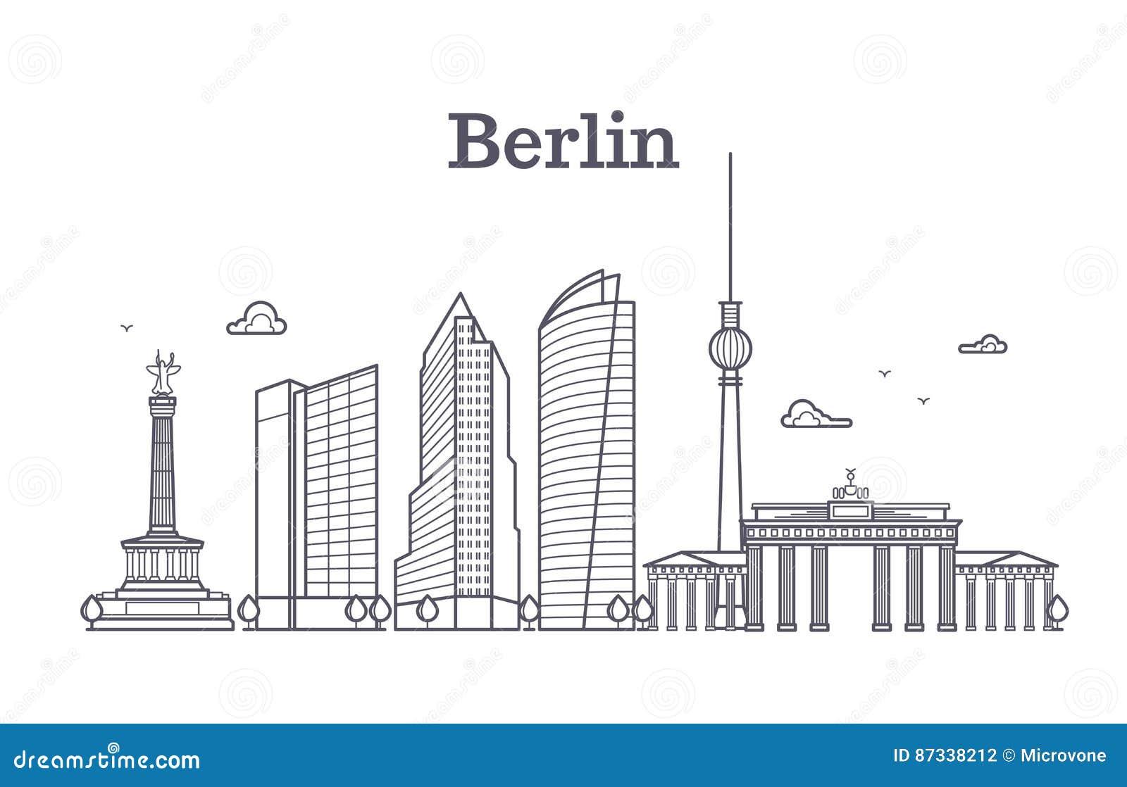 De lijn vectorlandschap van Duitsland Berlijn, stads panoramische huizen