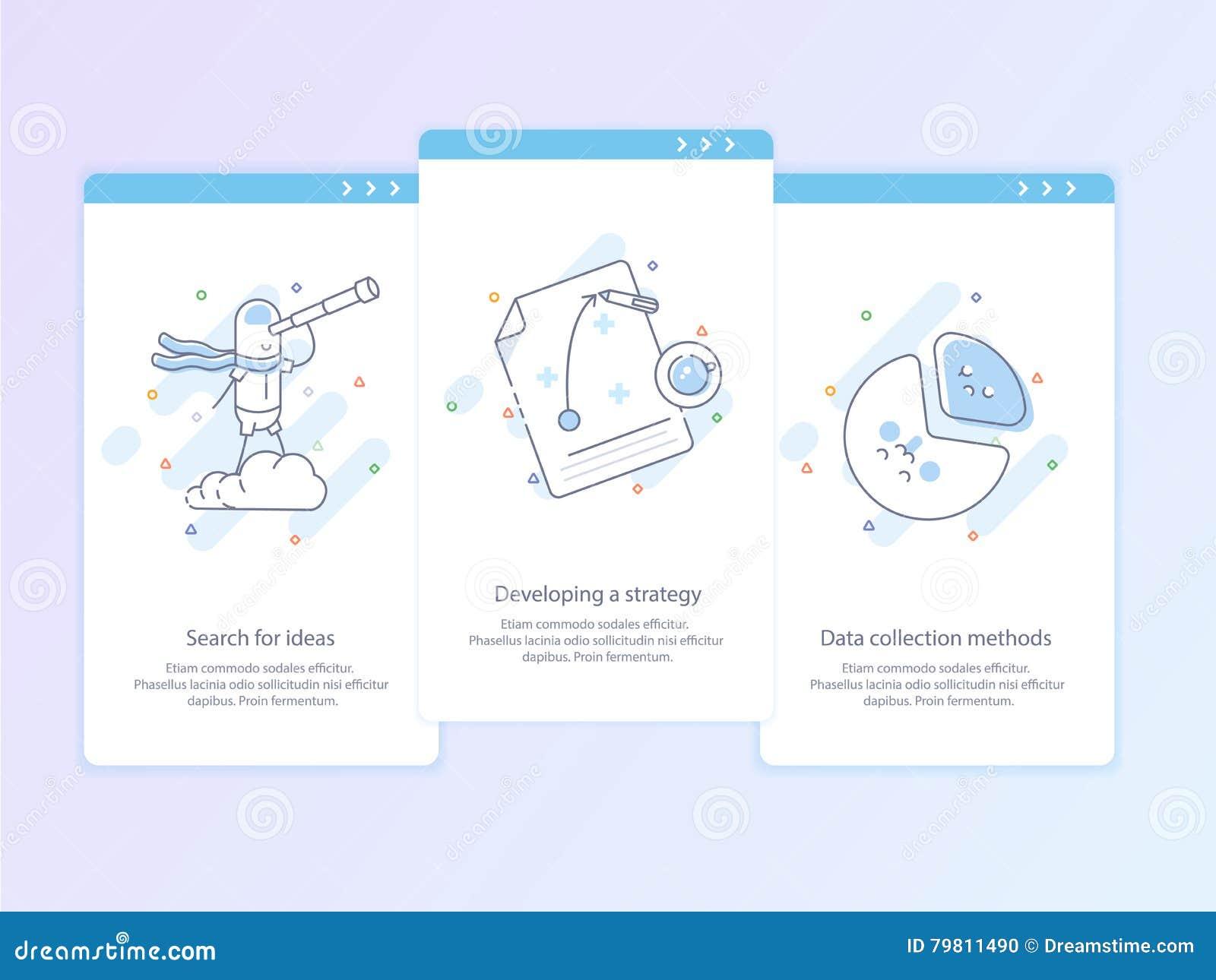De Lijnpictogram en Concept Vastgestelde Onboarding van de premiekwaliteit: Zoek naar ideeën, die een strategie, Gegevensverzamel