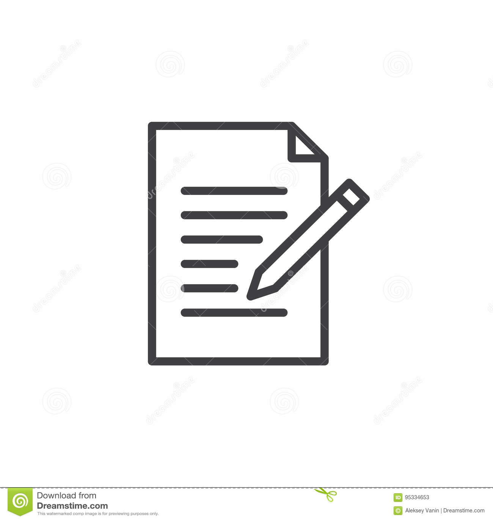 De lijnpictogram van de contactvorm Schrijf, geef overzichts vectorteken, lineair die stijlpictogram op wit wordt geïsoleerd uit