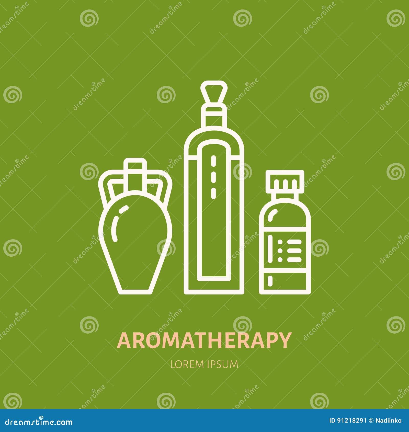 De lijnpictogram van de etherische oliënfles Vectorembleem voor aromatherapy lotionsopslag