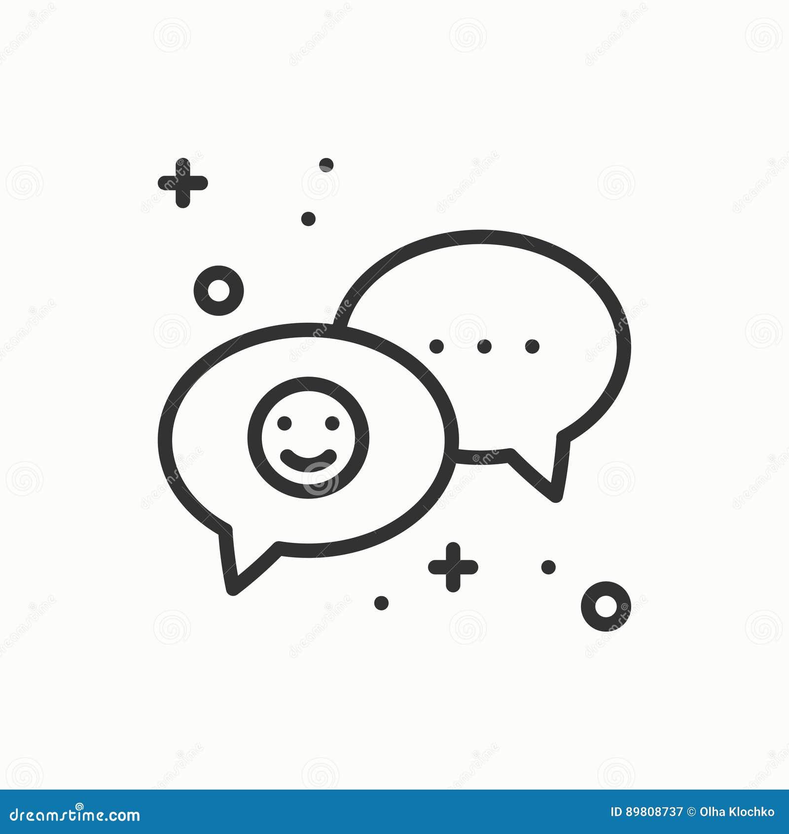 De lijnpictogram van de toespraakbel De vraag van het de dialoogbericht van het gesprekspraatje Dun lineair partij basiselement E