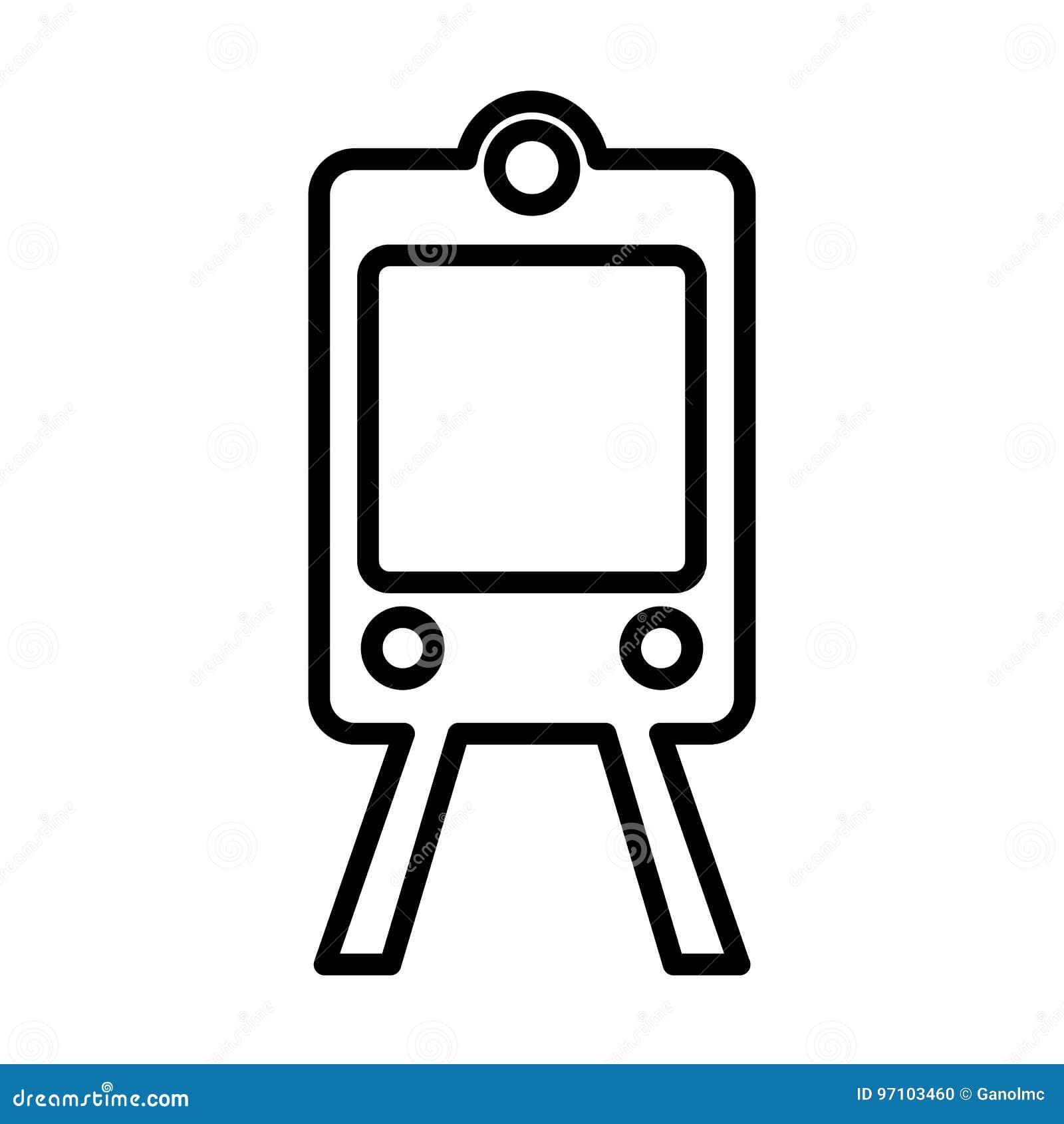 De lijnpictogram van de treinmetro Overzichts vectorteken Embleemillustratie