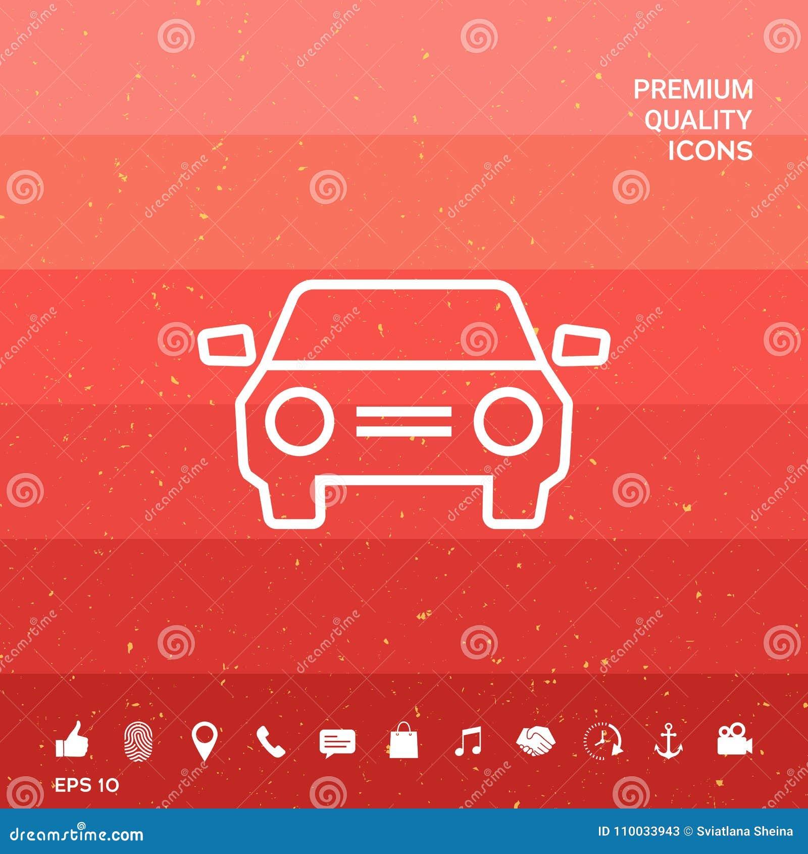 De lijnpictogram van het autosymbool