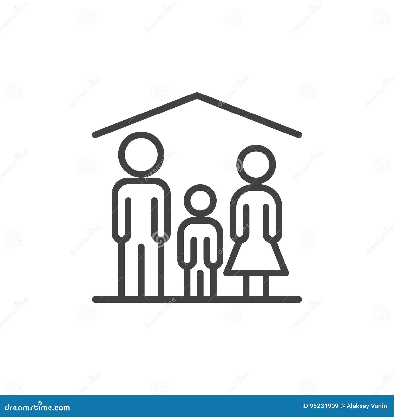 De lijnpictogram van het familiehuis, overzichts vectorteken, lineair die stijlpictogram op wit wordt geïsoleerd