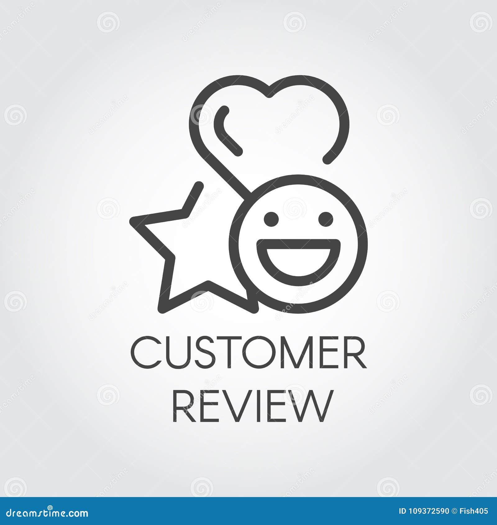 De lijnpictogram van het klantenoverzicht Ster, hart en van de emotiesglimlach tekens Evaluatie van de dienst, sticker voor praat