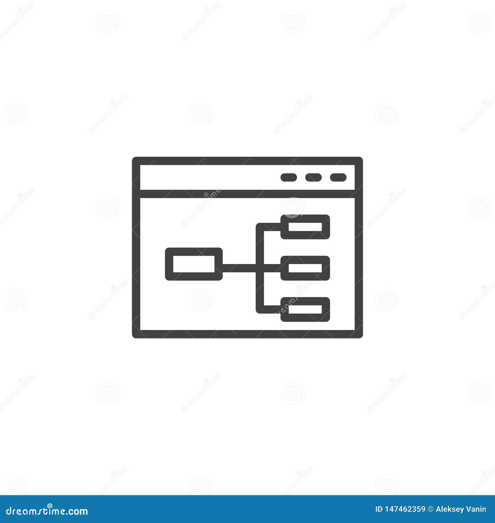 De lijnpictogram van het websitestroomschema