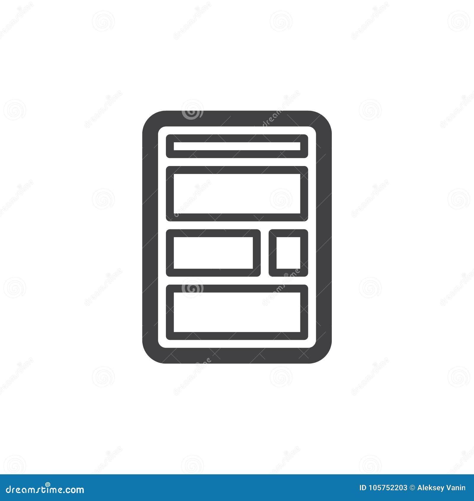 De lijnpictogram van de websitelay-out