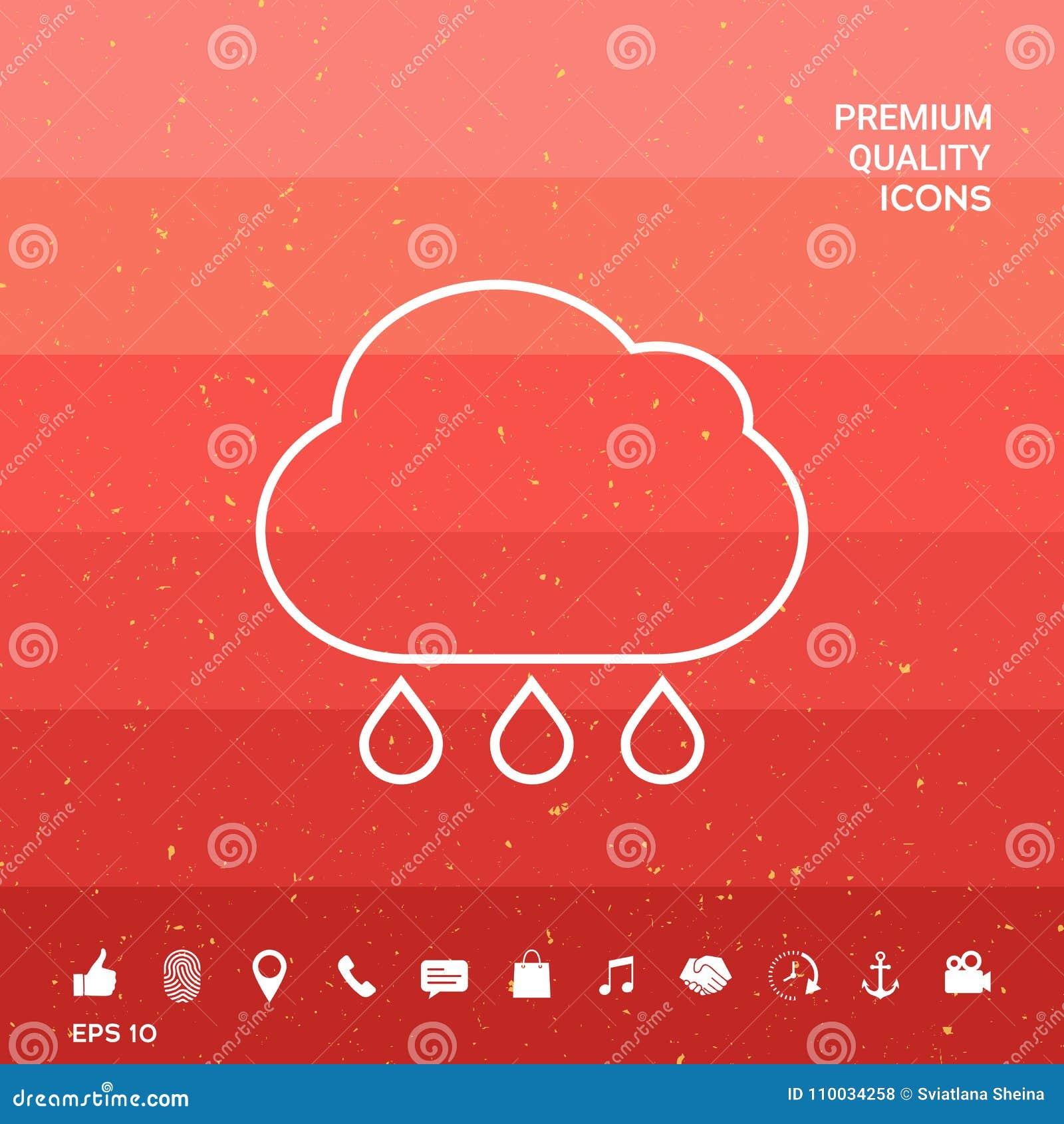 De lijnpictogram van de wolkenregen