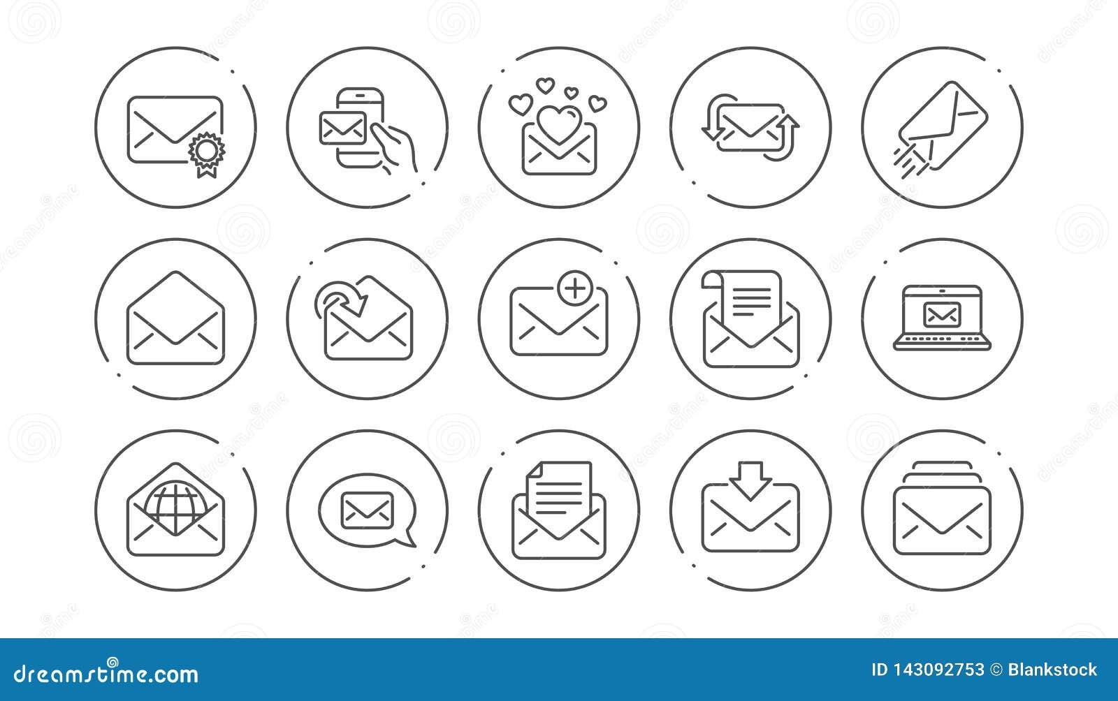 De lijnpictogrammen van het postbericht Bulletin, E-mail, Correspondentie Lineaire Pictogramreeks Vector
