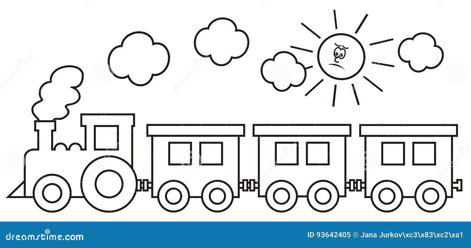 De locomotief van de stoom met wagens