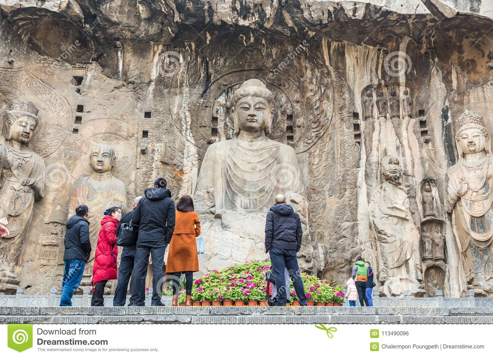 De Longmen grottorna eller de Longmen grottorna, berömd turist- destinatio