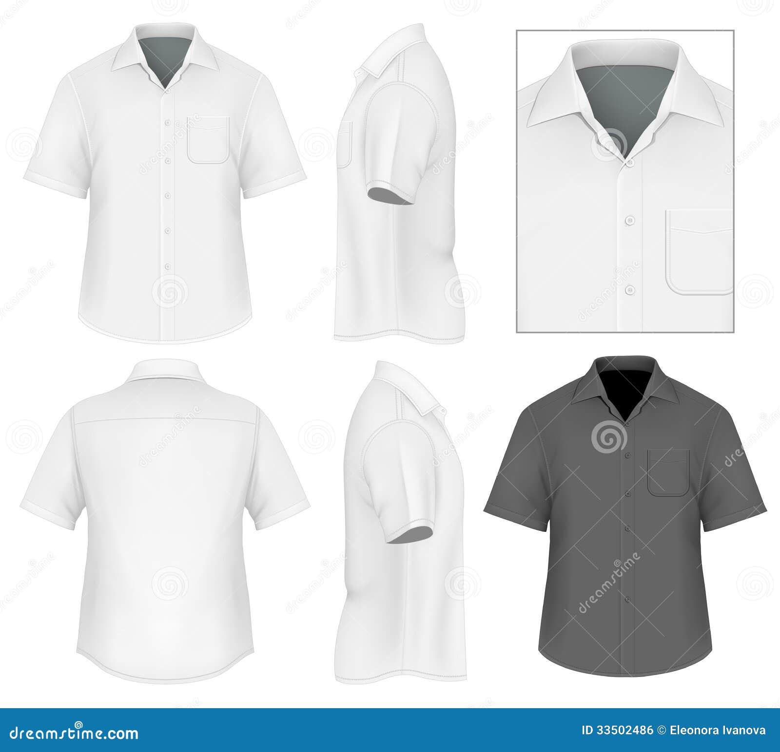 De Los Hombres Del Botón Plantilla Del Diseño De La Camisa Abajo ...