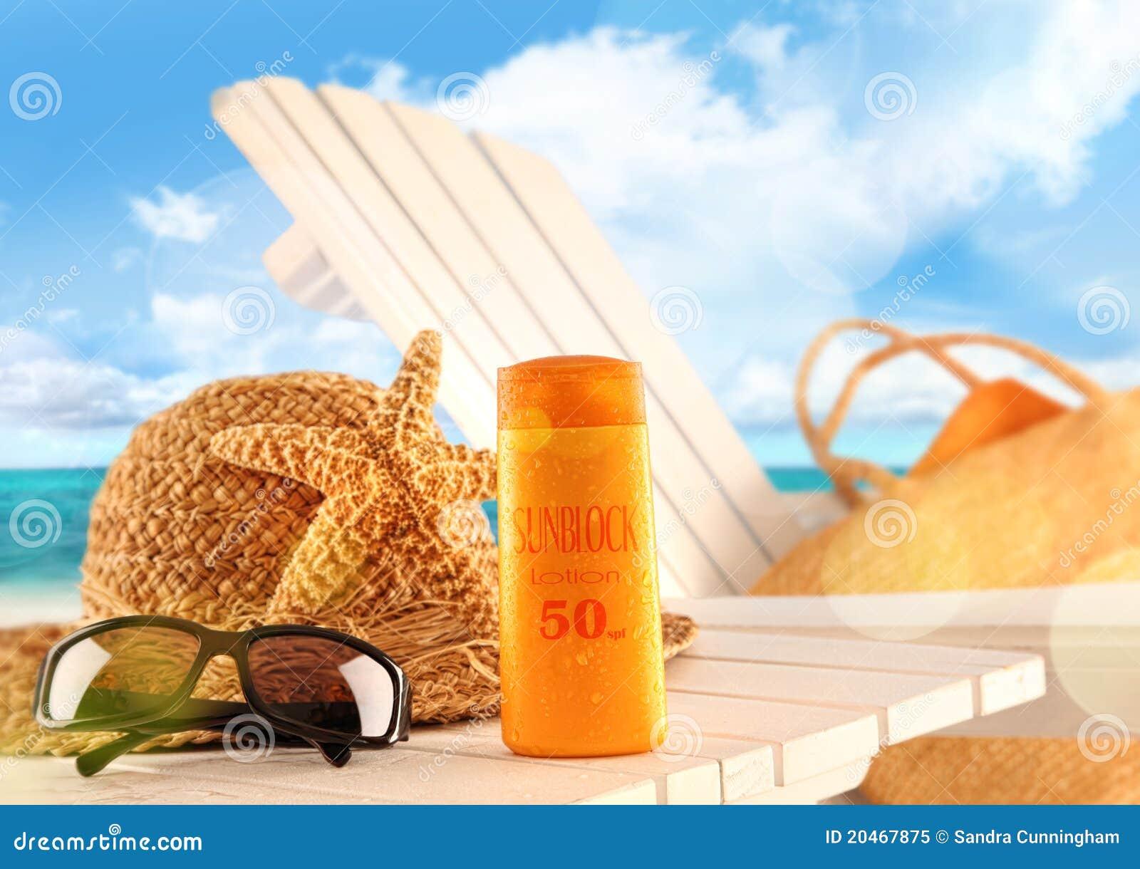 De lotion en het strandpunten van Sunblock op lijst