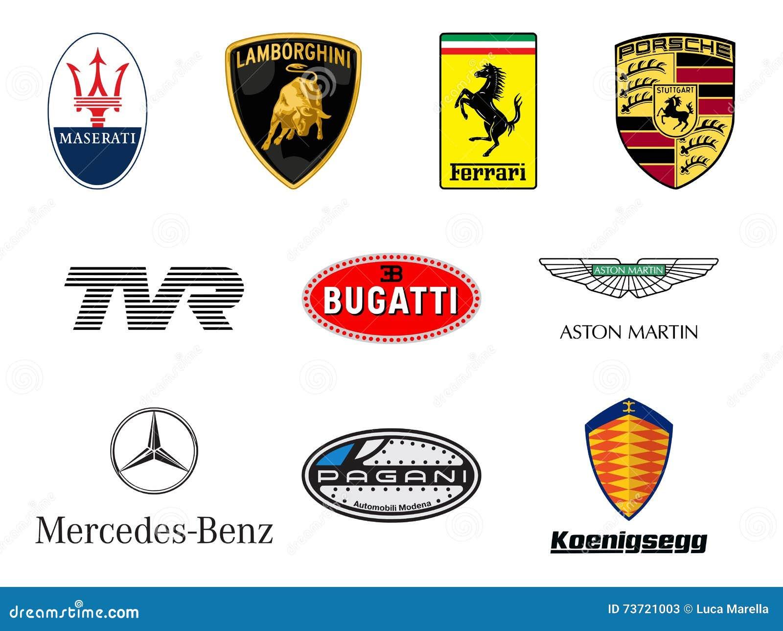De luxueuze emblemen van sportwagensproducenten