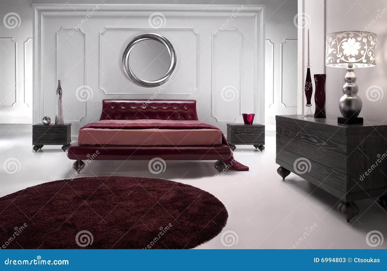 De luxueuze rode slaapkamer van het leer stock foto's   afbeelding ...
