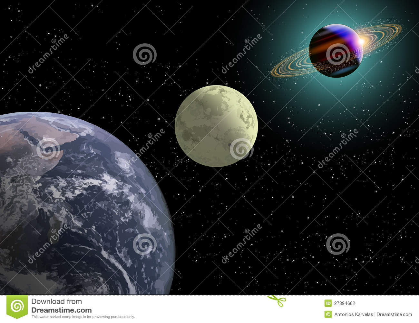 De Maan en Saturnus van de aarde met een Nieuwe Zon