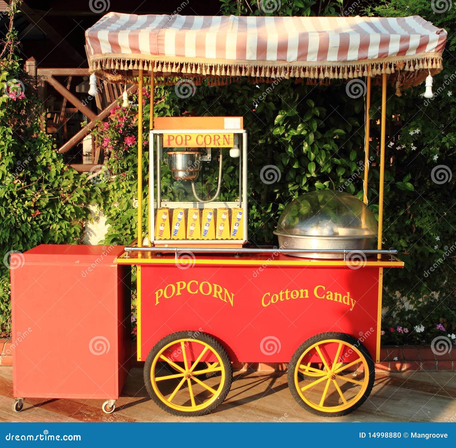 De maker van de popcorn en van de gesponnen suiker