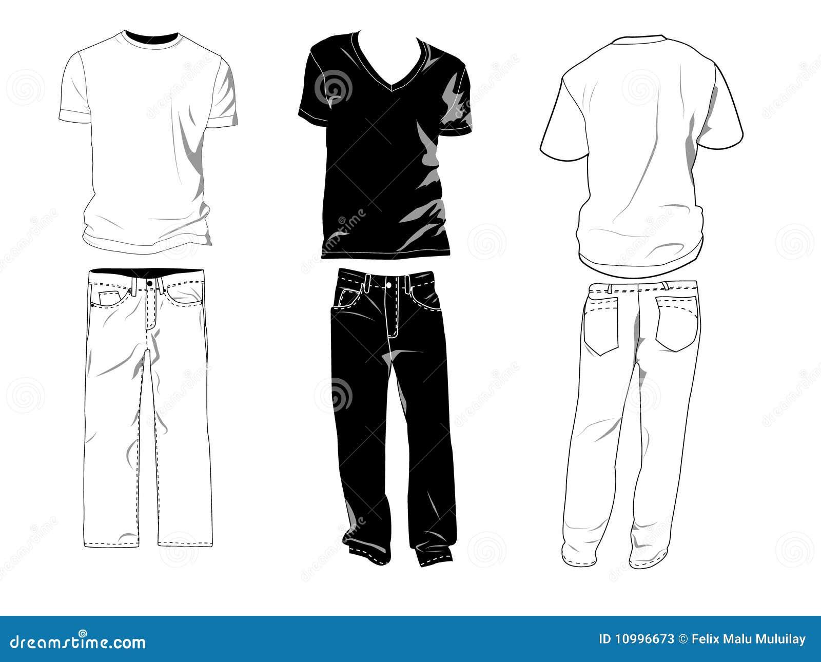 De malplaatjes van de t-shirt en van de broek