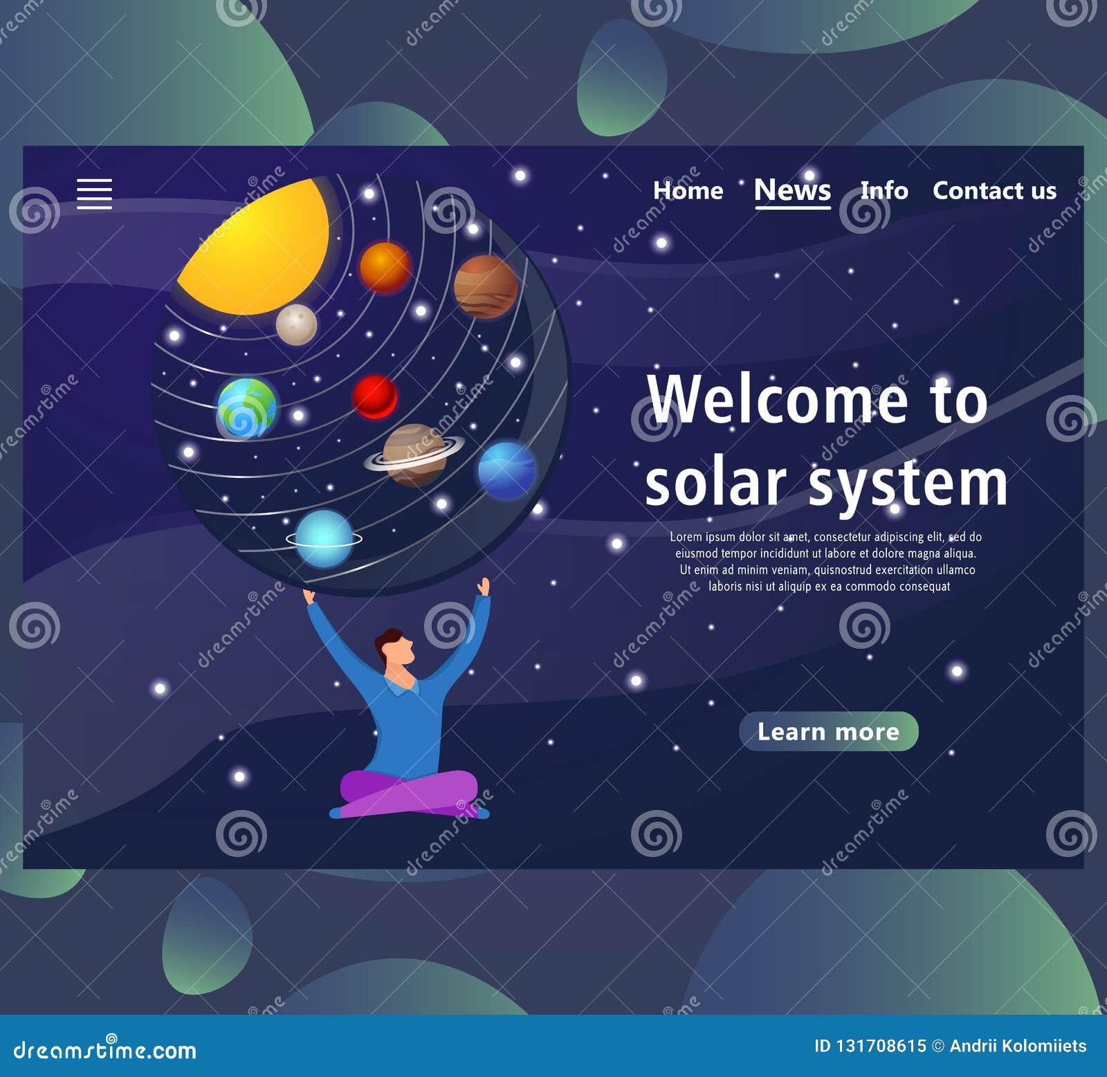 De malplaatjes van de websitepagina met Zonnestelselontwerp