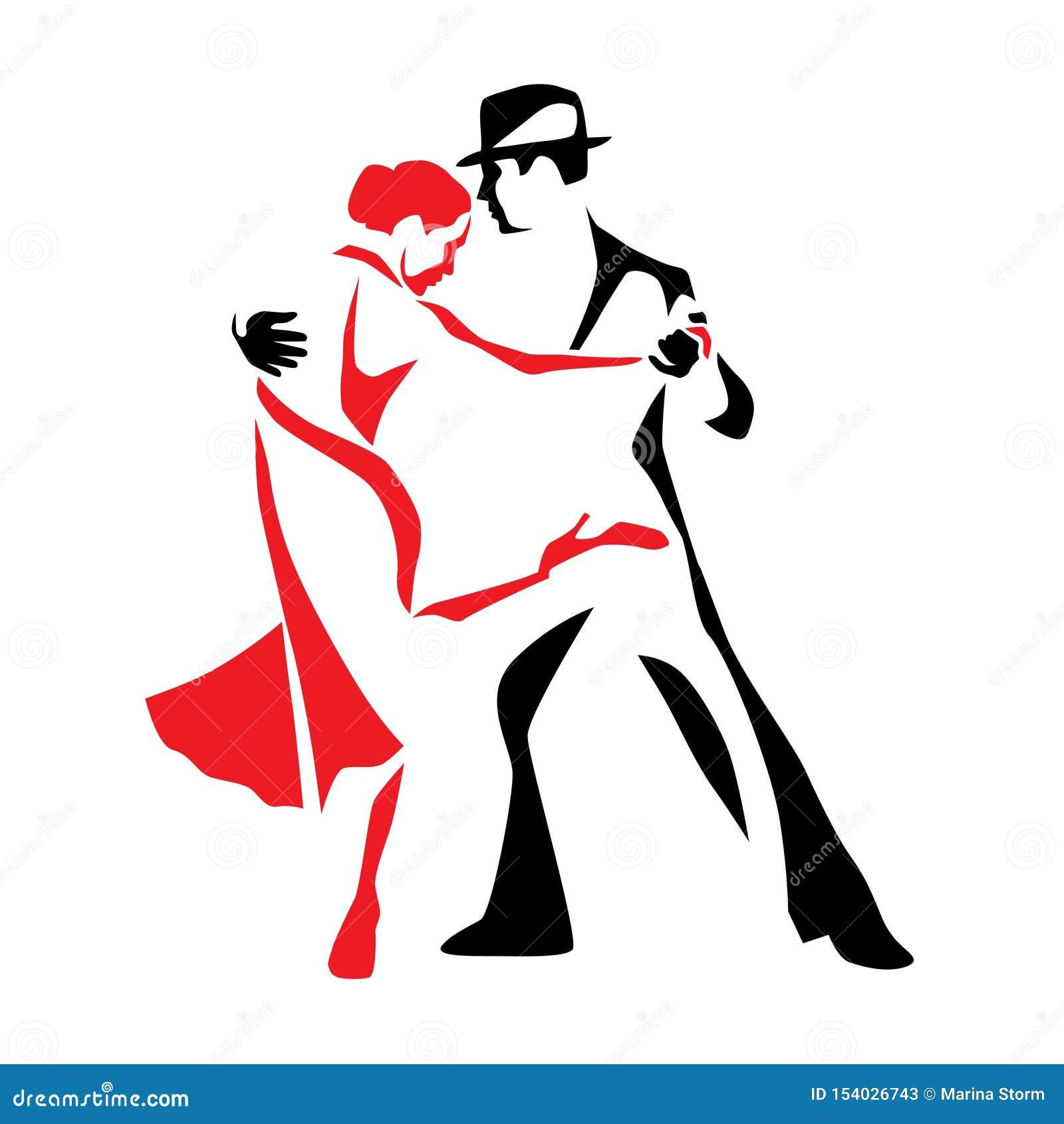 De man en de vrouwen vectorillustratie van het tango dansende paar, embleem, pictogram