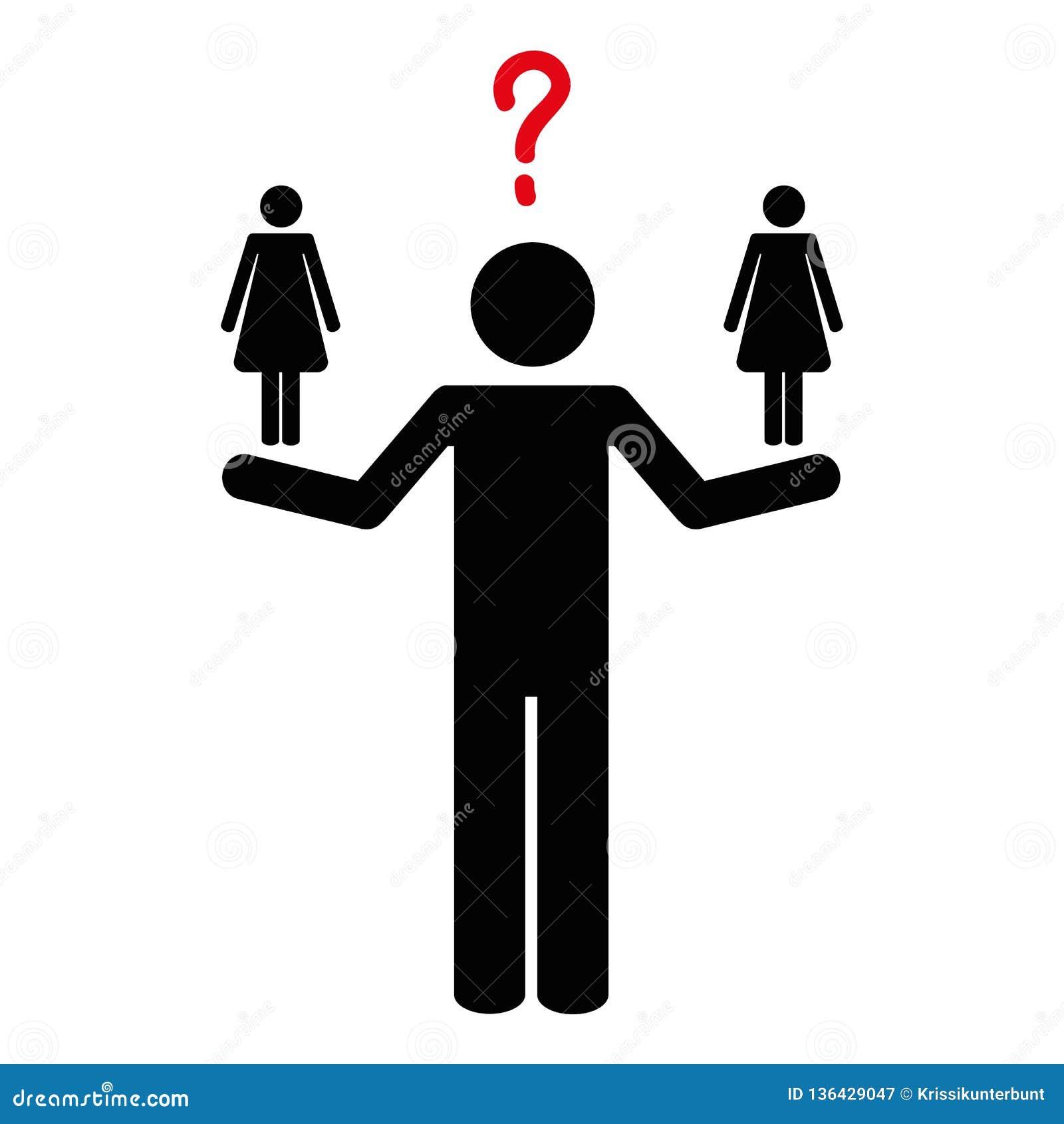 De man kan niet tussen twee vrouwenpictogram beslissen