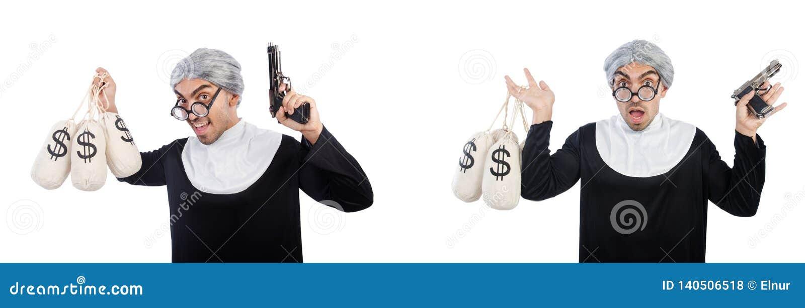 De man in nonkleding met pistool en moneybags