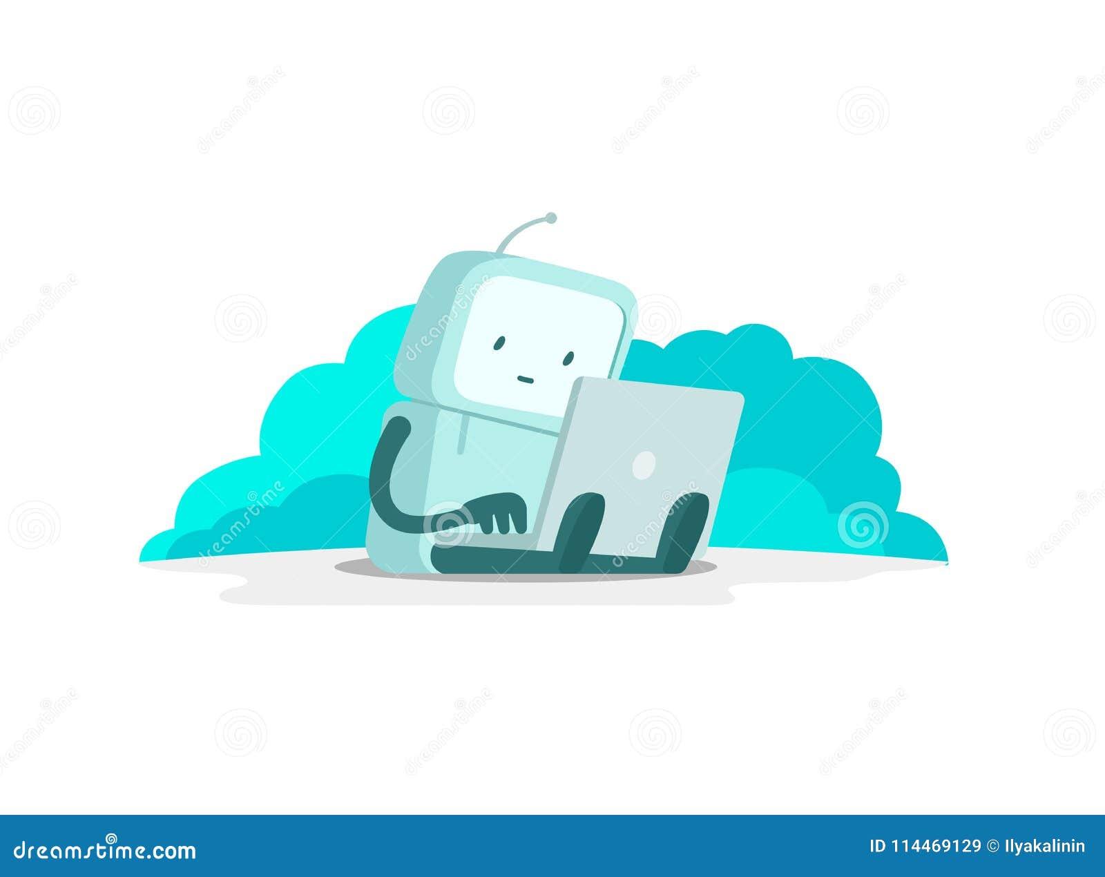 De man van de robotastronaut zit met laptop Zoek op Internet Het surfen van Internet De gevonden niet pagina van de fout vlakke k