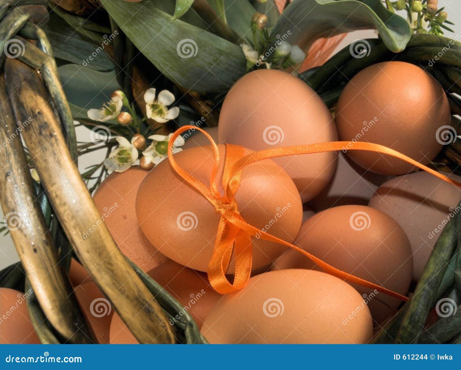 De mand van Pasen met eieren